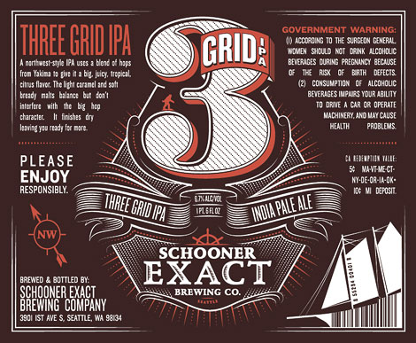 Schooner Exact Brewing Co. 3 Grid IPA Label