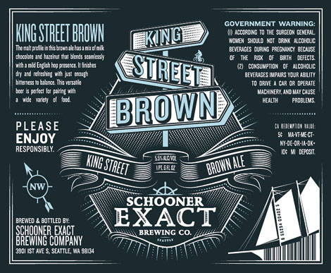 Schooner Exact Brewing Co. Brown Ale Label