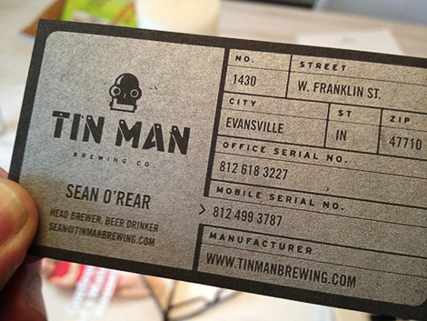 Tin Man Brewing Business Card