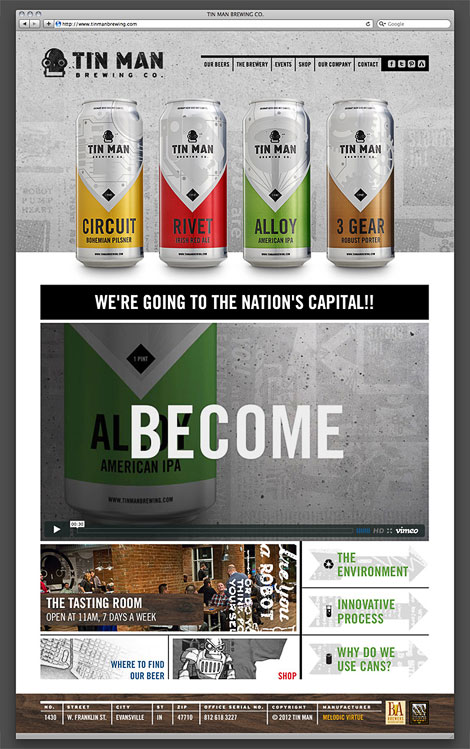 Tin Man Brewing Website